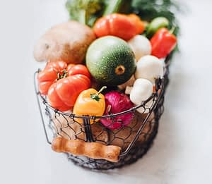 Healthy foods in a basket