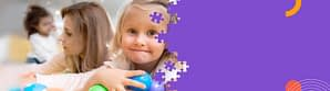 little girl playing with colorful balls, purple background design